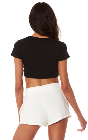 CROP V NECK CAP SLEEVE TEE