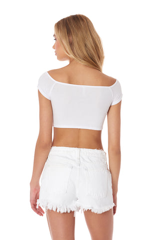 OFF THE SHOULDER ZIP FRONT SUPER CROP TEE