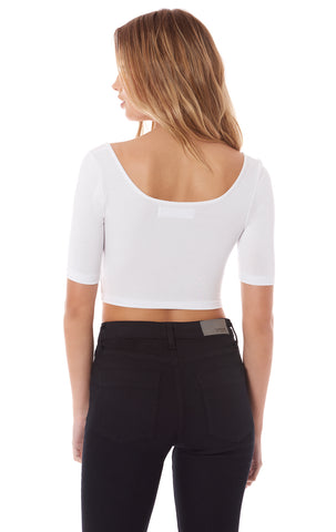 SQUARE NECK MID SLEEVE CROP TEE