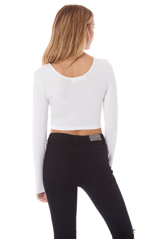 CINCHED FRONT LONG SLEEVE TEE
