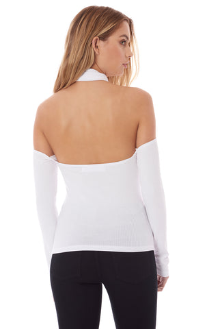 CUT OUT SHOULDER TURTLENECK LONG SLEEVE TEE