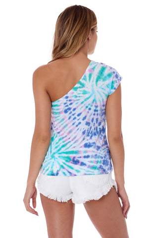 TIE DYE ONE SHOULDER T SHIRT