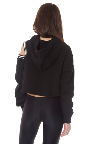 CROPPED HALF ZIP HOODIE WITH ONE SHOULDER CUT OUT
