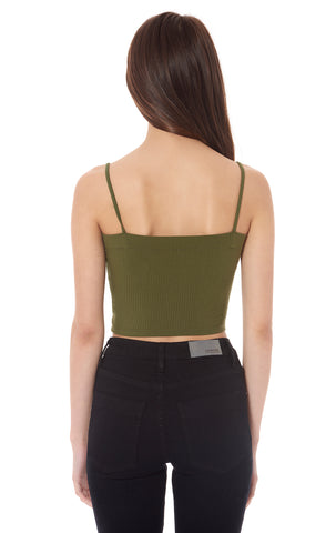 SQUARE NECK CROP STRAPPY TANK