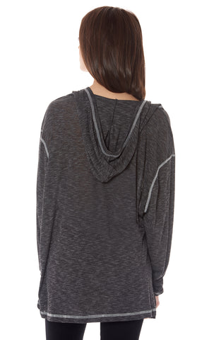 HOODED LONG SLEEVE OVERSIZE TEE