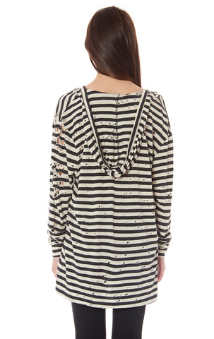 HOODED LONG SLEEVE STRIPED TEE