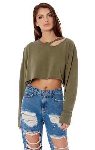 CROP LONG SLEEVE RIPPED NECK TEE