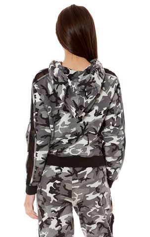 CAMO ZIP UP HOODIE WITH NETTING CONTRAST