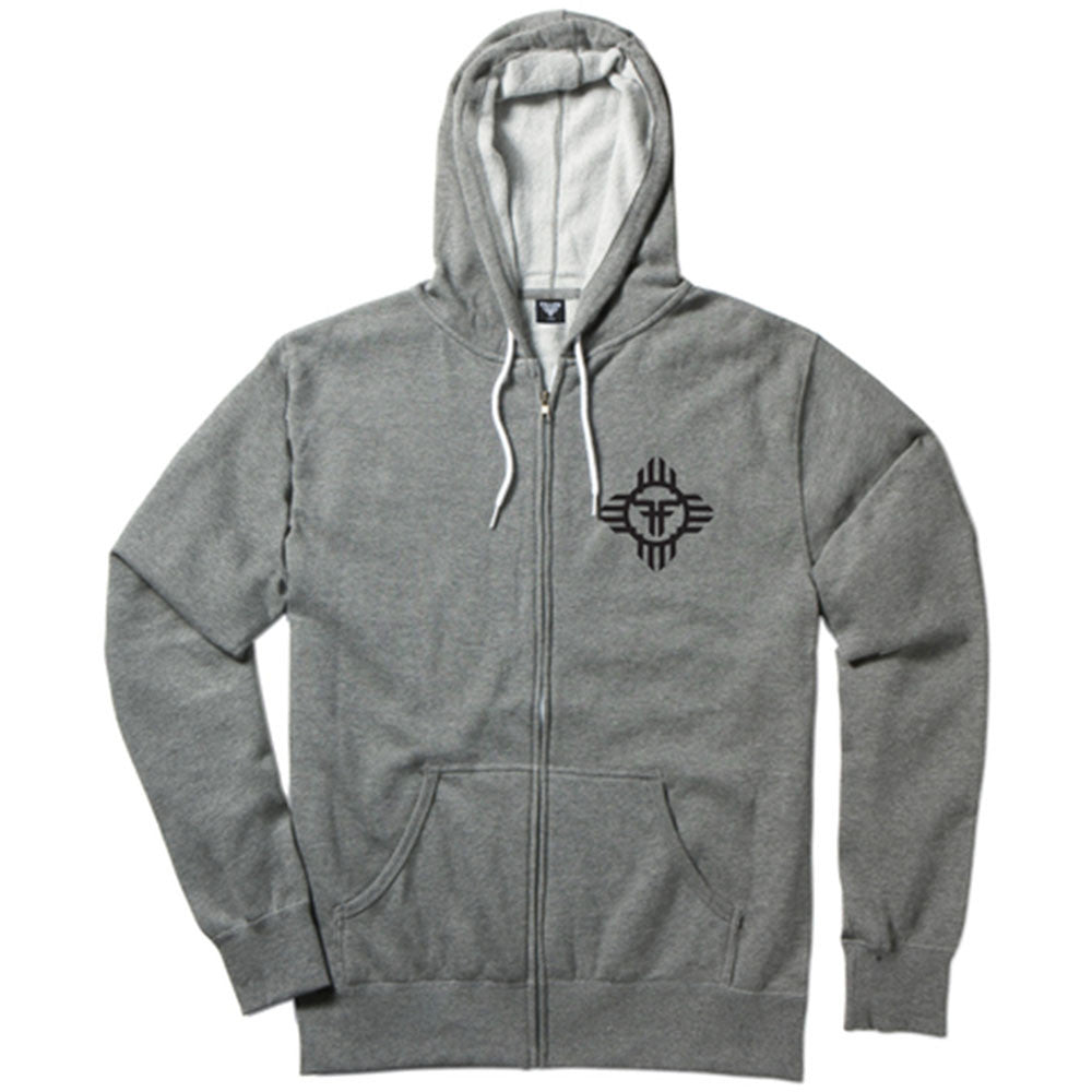 Fallen Apache Zip-Up Hooded Men's Sweatshirt - Heather Grey/Black