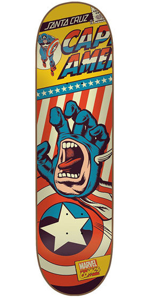 Santa Cruz Marvel Captain America Hand Skateboard Deck - Yellow - 31.7in x 8.26in