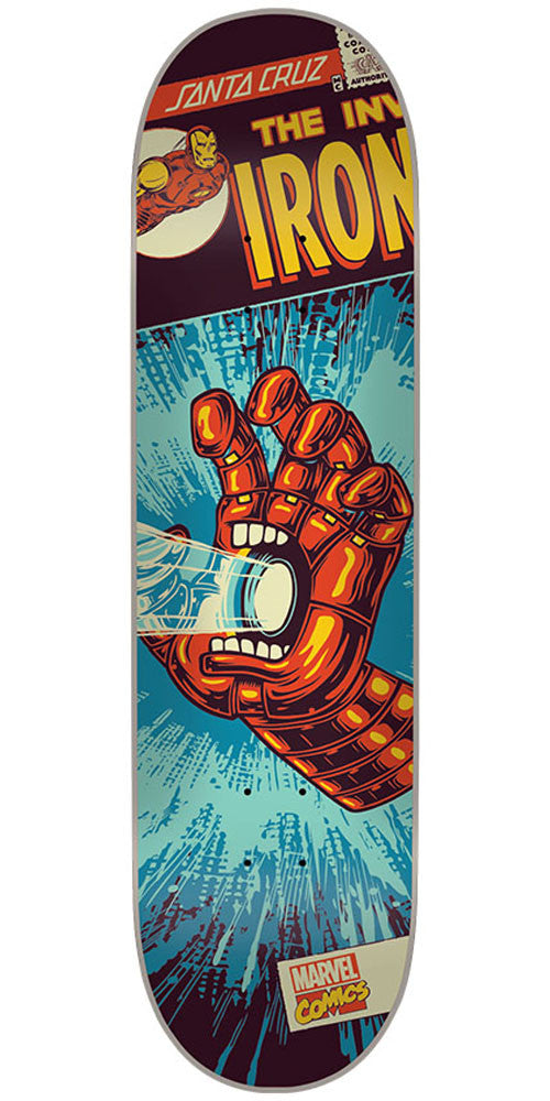 Santa Cruz Marvel Iron Man Hand Skateboard Deck - Blue - 31.6in x 8.0in