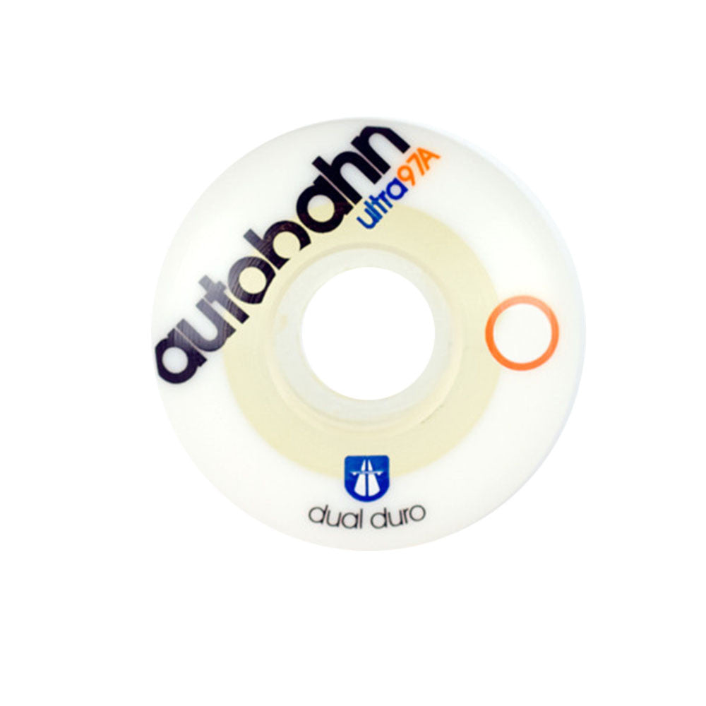 Autobahn Dual Duro - White/Clear - 53mm 97a - Skateboard Wheels (Set of 4)