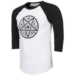 Black Label Pentagram Raglan - White/Black - Men's T-Shirt