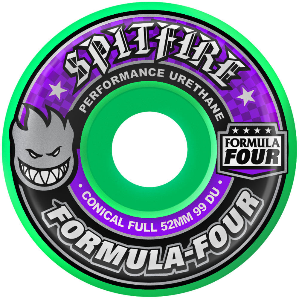 Spitfire Formula Four Conical Full Skateboard Wheels - 52mm 99a - Hot Green (Set of 4)