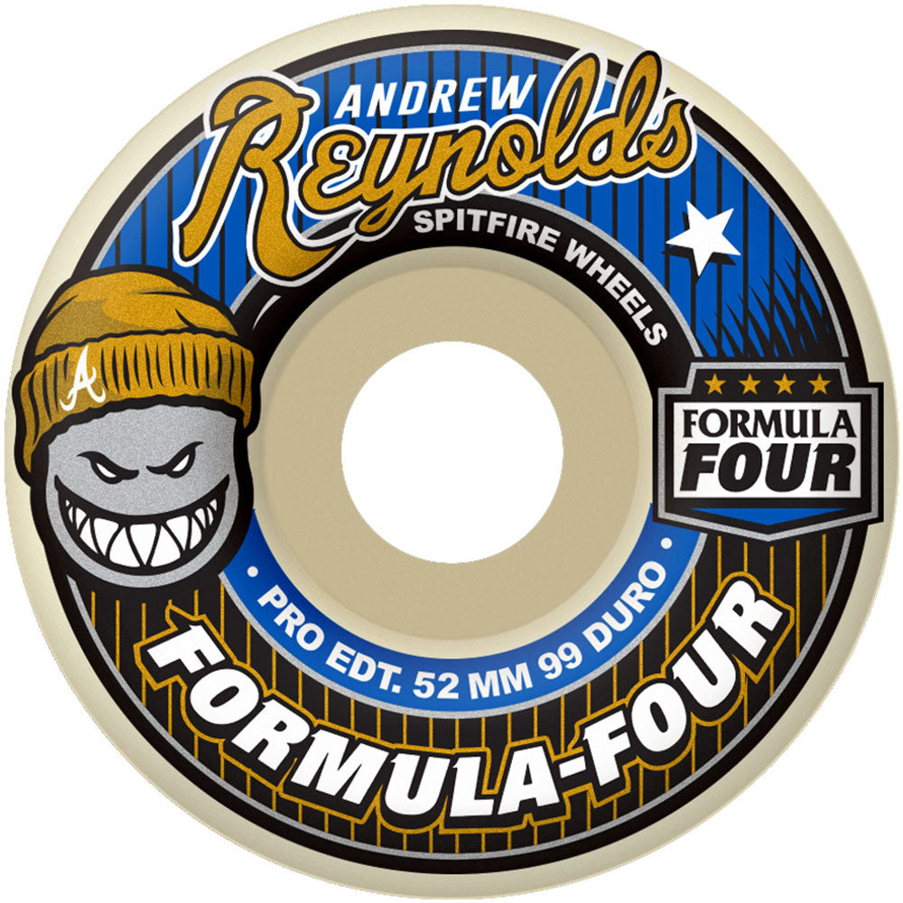 Spitfire Formula Four Reynolds Skateboard Wheels - 53mm 99a - White (Set of 4)