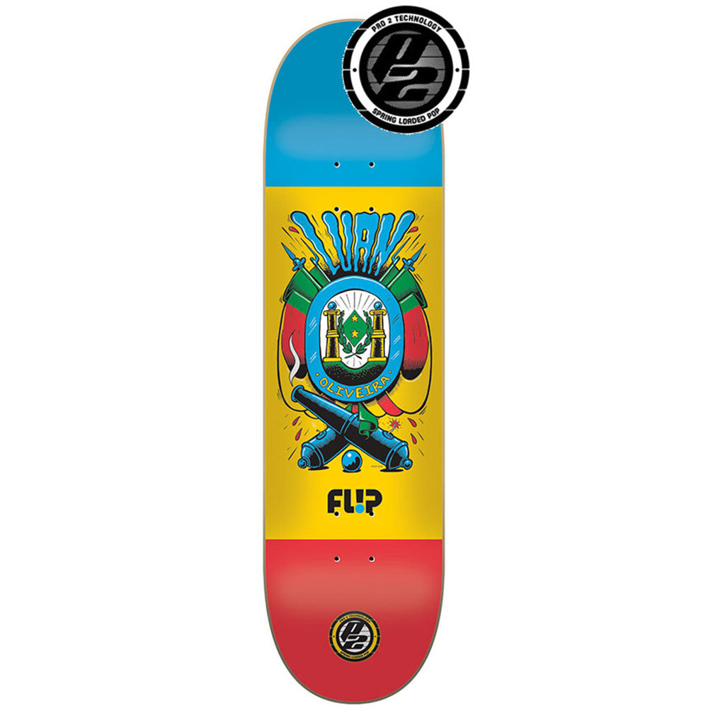 Flip Oliveira Flag Series P2 Skateboard Deck - Blue/Yellow/Red - 8.1in x 32.2in