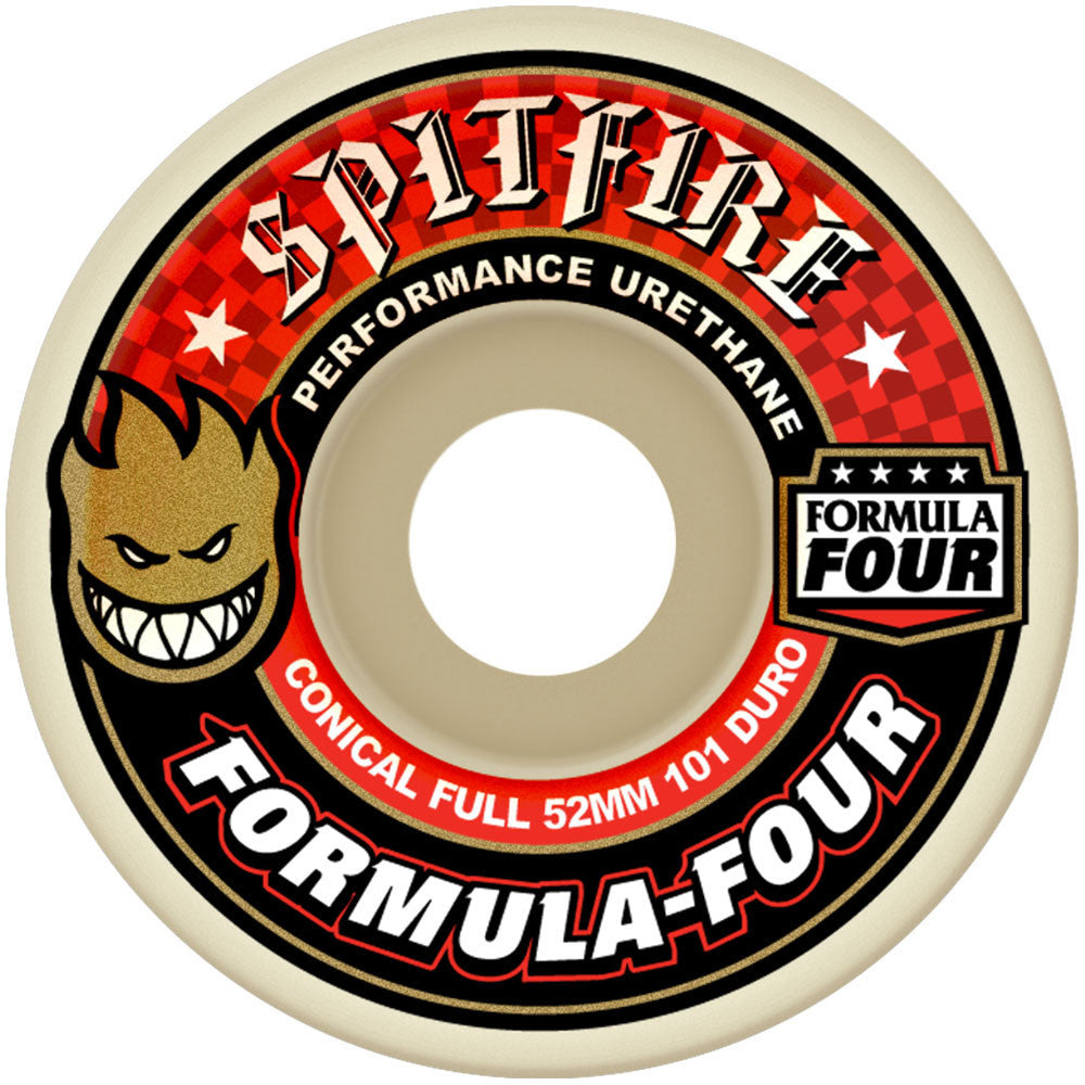 Spitfire Formula Four Conical Full Skateboard Wheels- 52mm 101a - White (Set of 4)