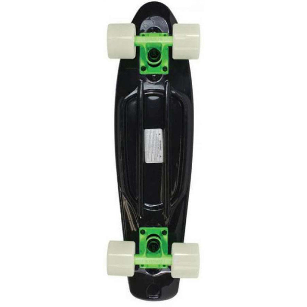 Stereo Vinyl Cruiser - Black/Green/Glow In The Dark - 6in x 22.5in - Complete Skateboard