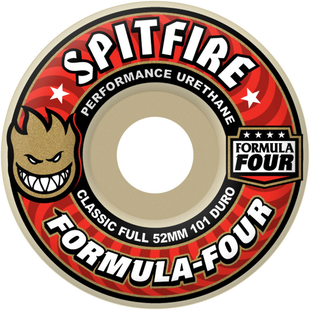 Spitfire Formula Four Classic Full Skateboard Wheels - 53mm 101a - White (Set of 4)