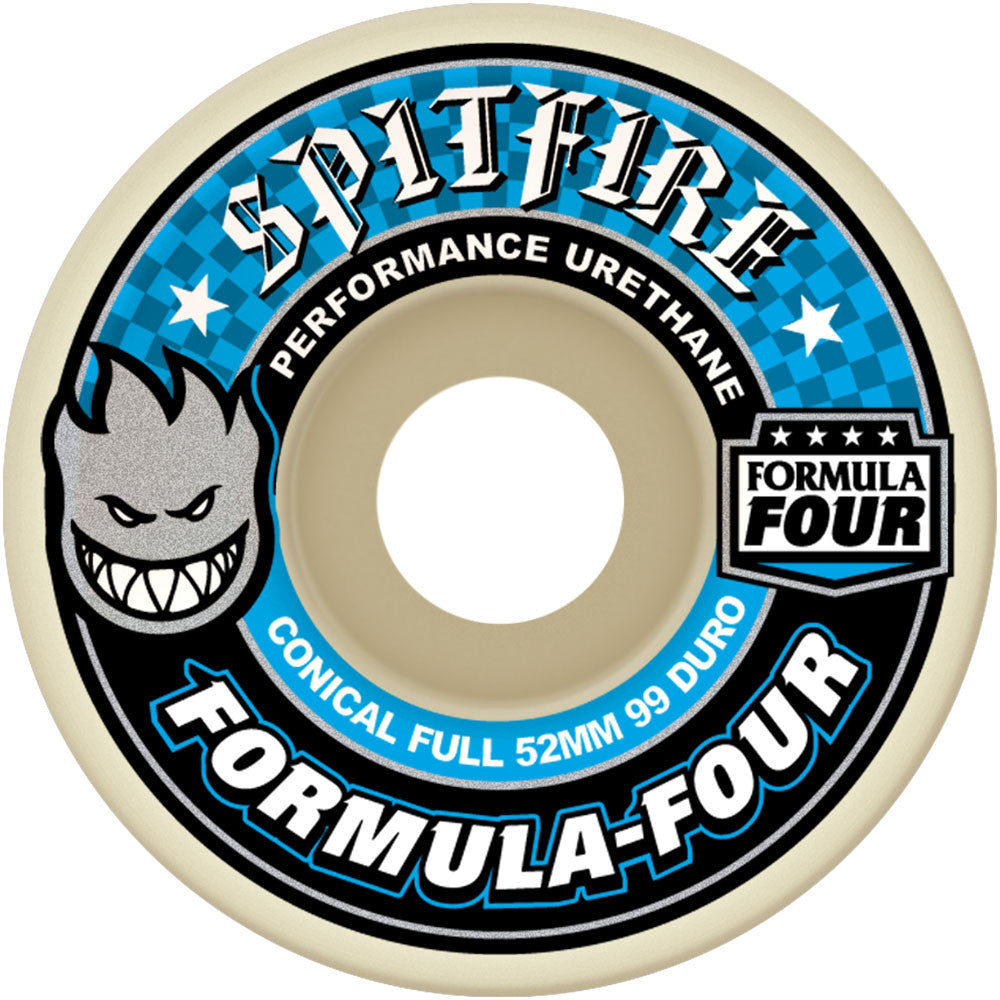 Spitfire Formula Four Conical Full Skateboard Wheels - 52mm 99a - White (Set of 4)