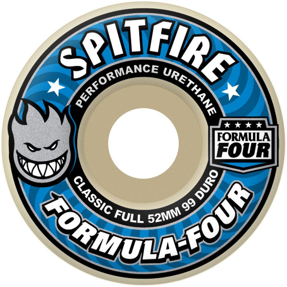Spitfire Formula Four Classic Full Skateboard Wheels - 52mm 99a - White (Set of 4)