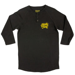 Shake Junt Candy Script Henley Men's T-Shirt - Black