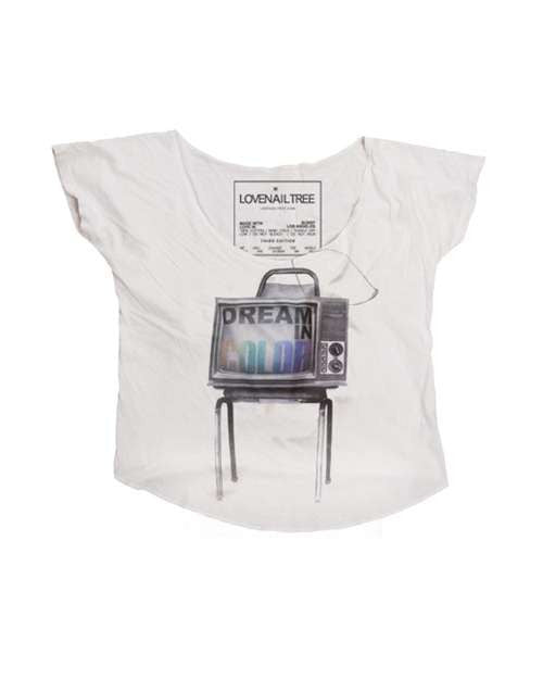 Love Nail Tree Dream In Color TV Crop Tee - White - Womens Shirt