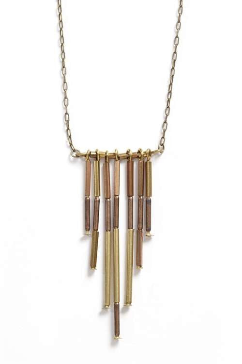 Love Nail Tree Pipe Organ Necklace - Brass