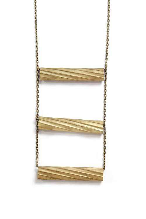 Love Nail Tree Ladder Necklace - Brass