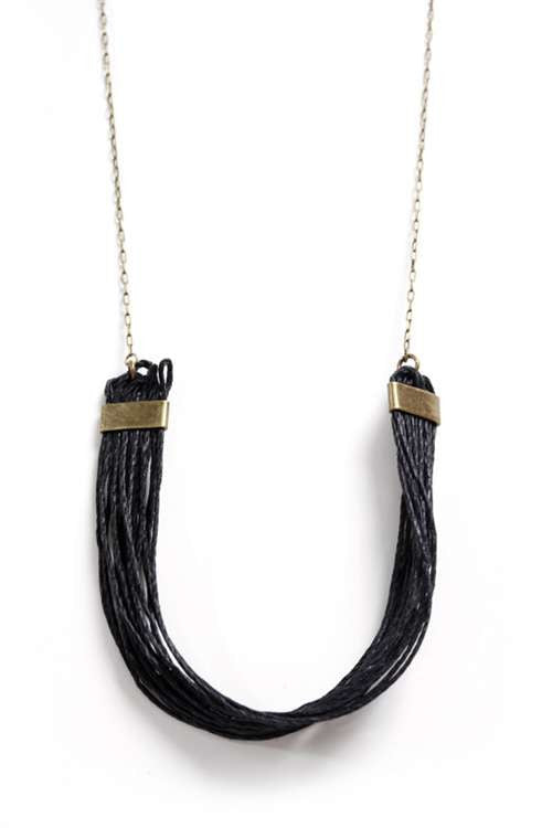 Love Nail Tree Rings of Hemp Necklace - Black
