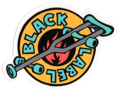 Black Label Crutch Sticker - 4in - Yellow/Teal