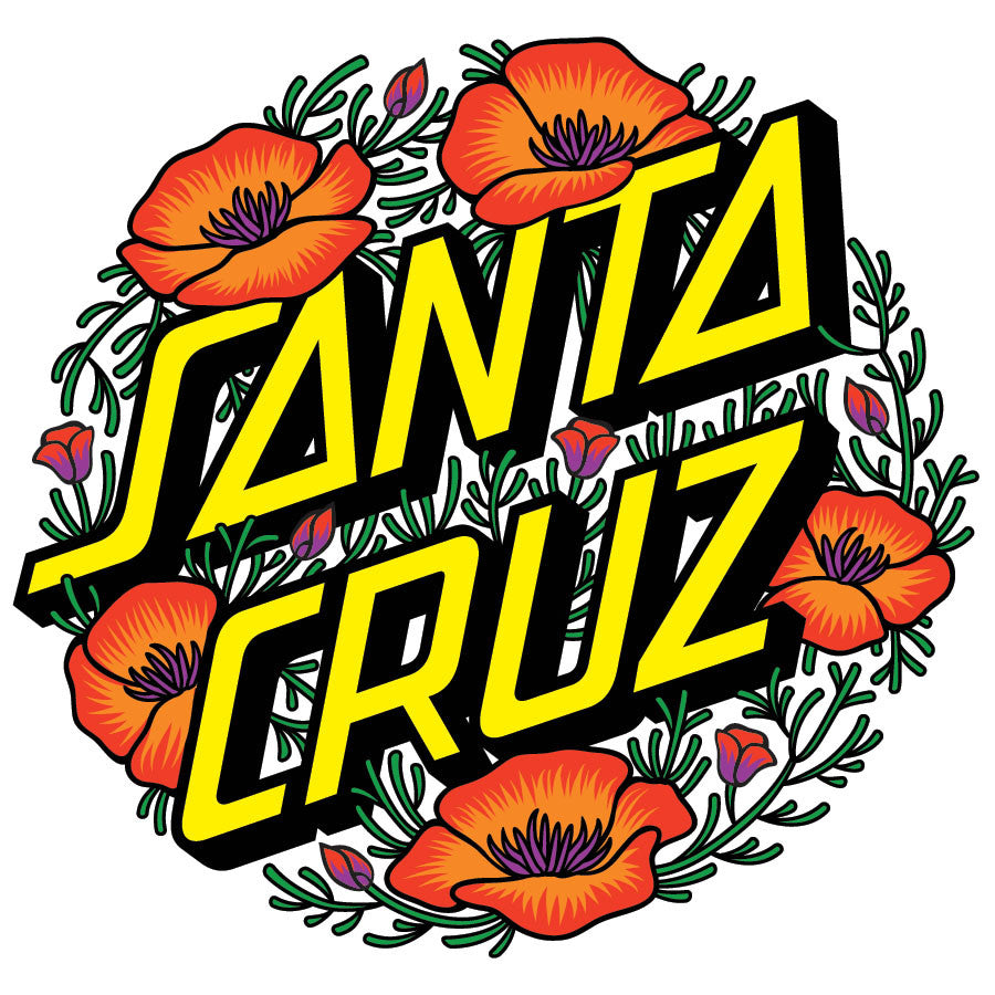 Santa Cruz Poppy Dot Sticker - 3in - Green/Red/Yellow