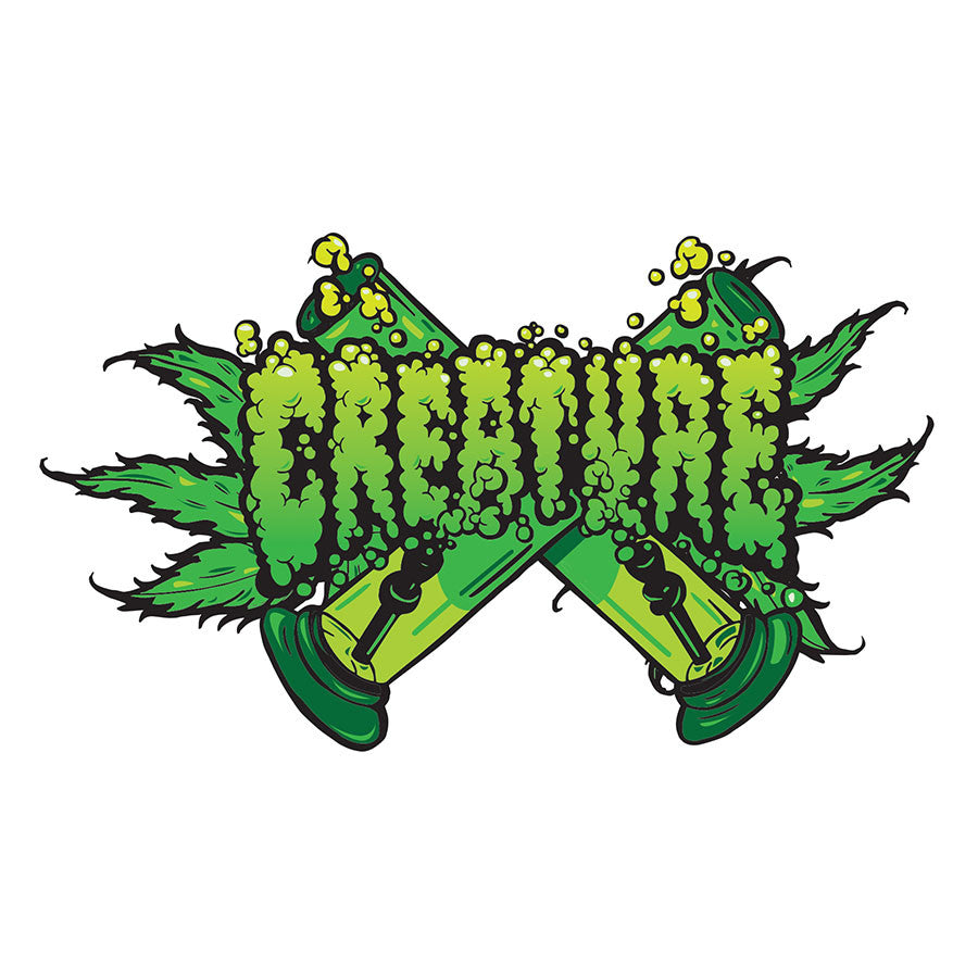 Creature OG Kush Clear Mylar Sticker - 5in x 3in - Green