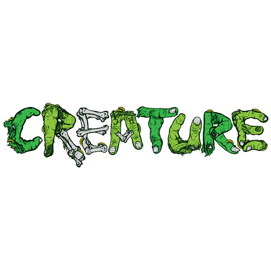 Creature Gang Signs Clear Mylar Sticker  - 7in x 2in - Green