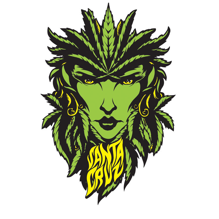 Santa Cruz Weed Goddess Sticker - 6in - Green