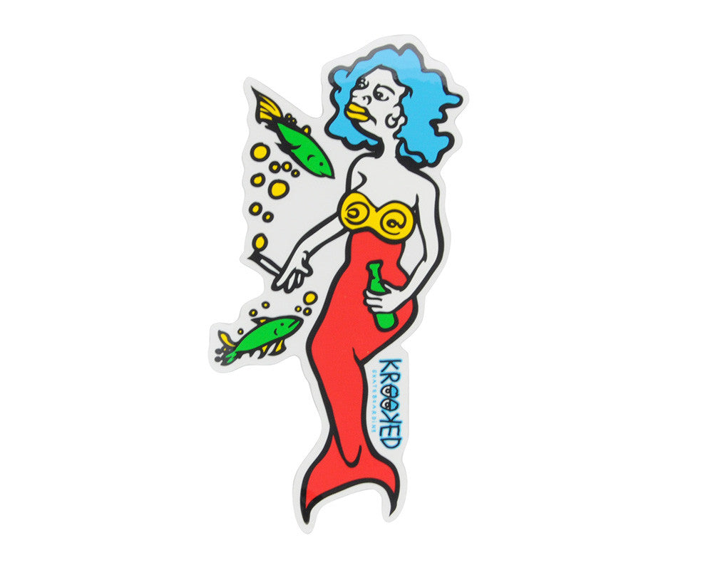 Krooked Mermaid Sticker - Large - Assorted Colors