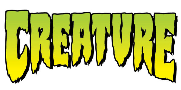 Creature logo clear mylar sticker 1in x 2in green