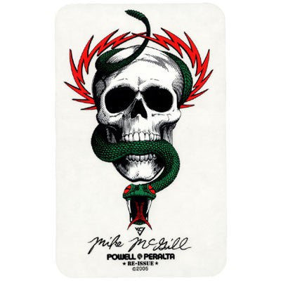 Powell Peralta Mike McGill Skull & Snake Sticker - White