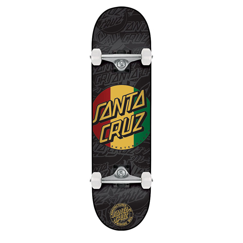 Santa Cruz Rasta Dot Sk8 Complete Skateboard - 7.75in x 31.6in - Black