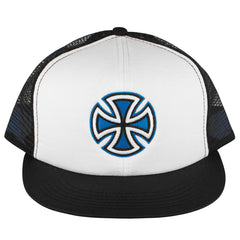 Independent Painted Cross Trucker Hat - White/Blue/Black