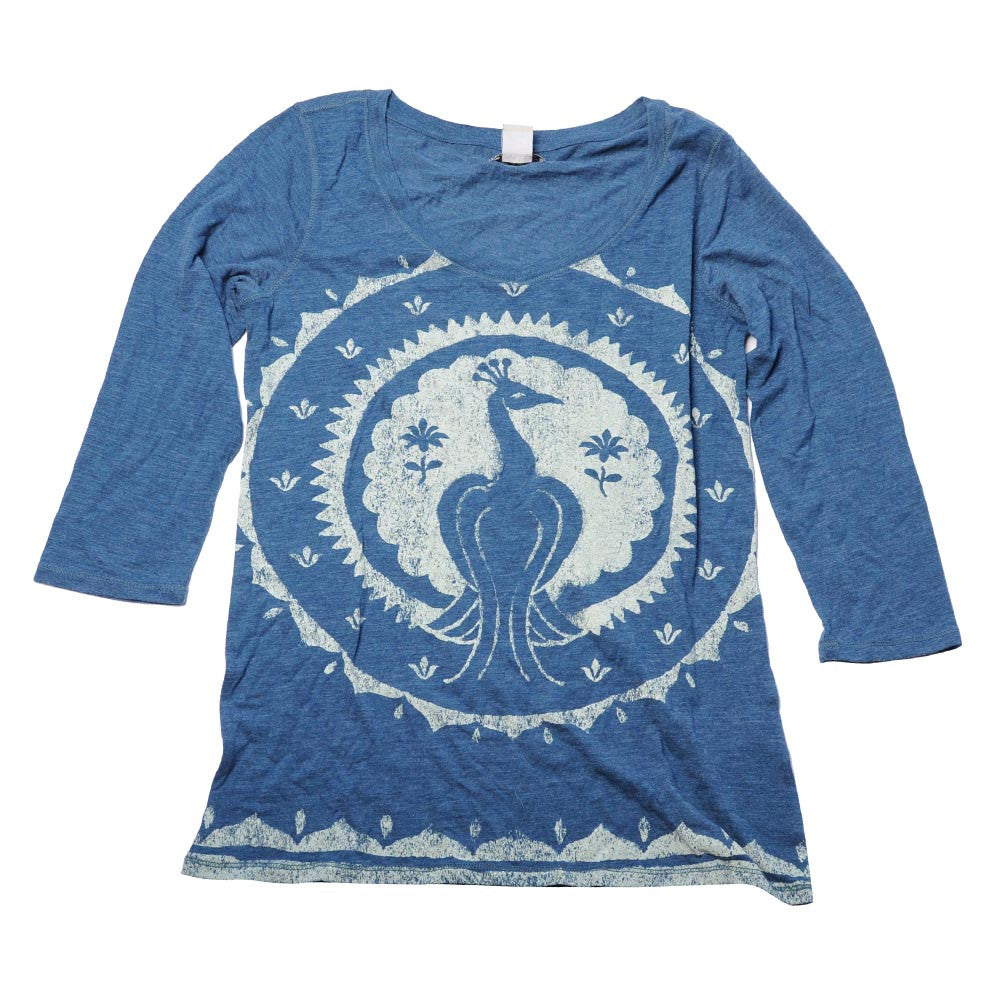 Lucky Peacock Medallion Tee - Blue - Womens Shirt