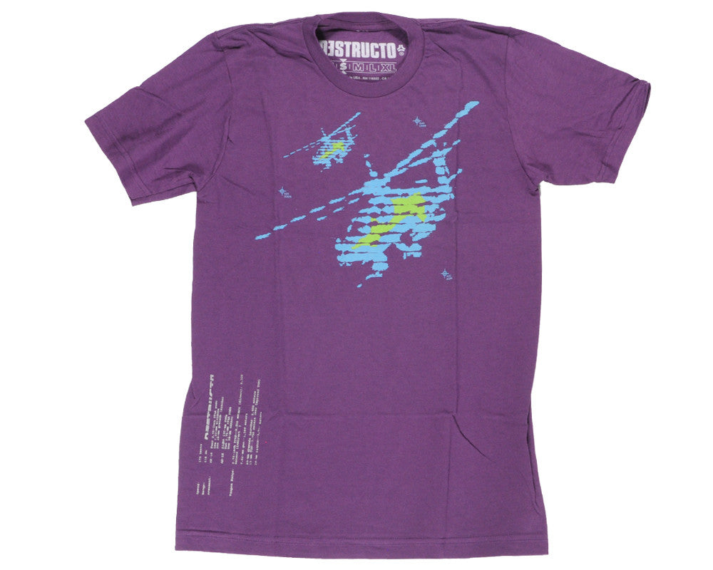 Destructo Radar Men's T-Shirt - PUR/BLU/GRN - Small