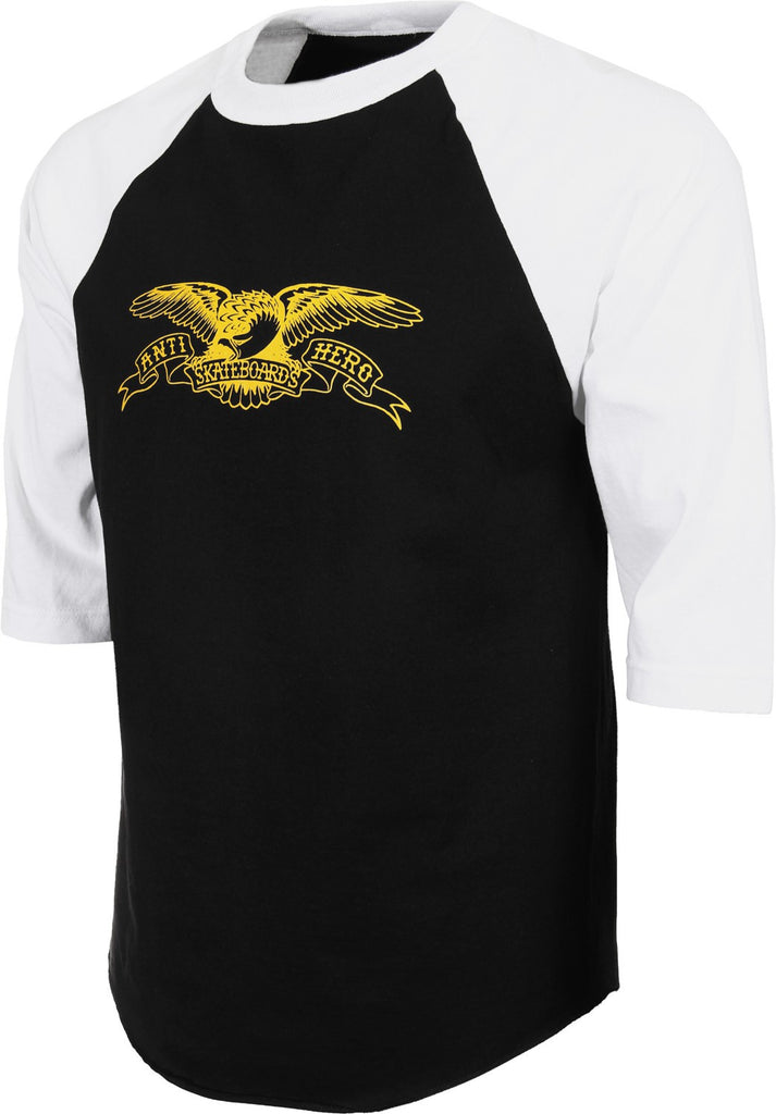 Anti-Hero Basic Eagle 3/4 Sleeve Men's T-Shirt - Black/White