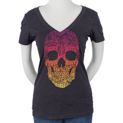 Santa Cruz Doodle Skull Fitted V-Neck S/S Women's T-Shirt - Storm