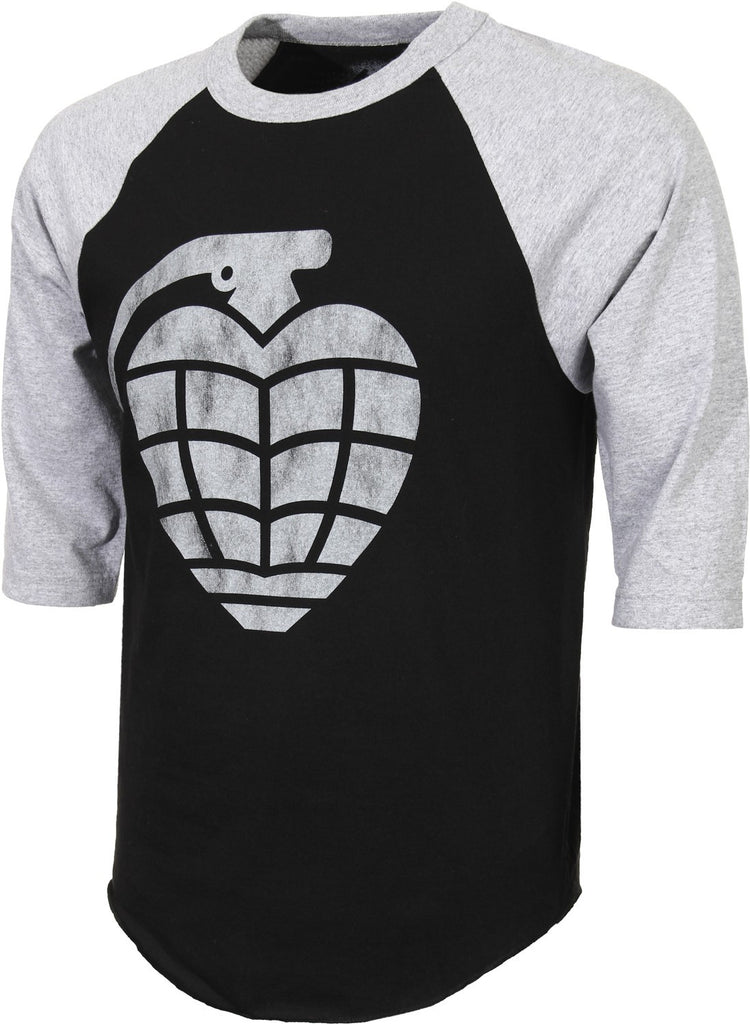 Thunder Distressed Grenade 3/4 Sleeve Men's T-Shirt - Black/Charcoal