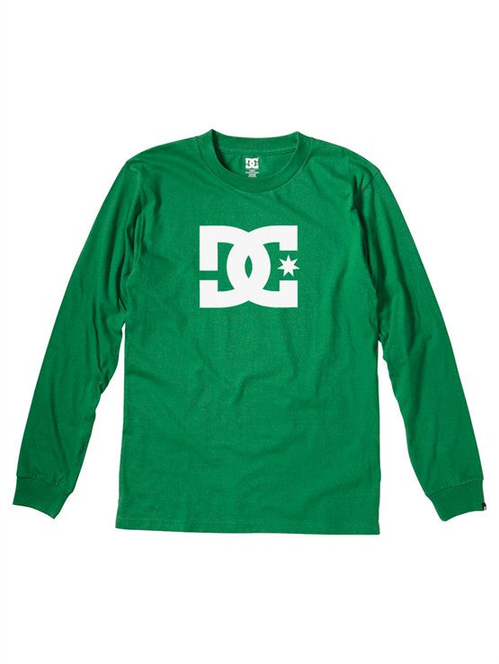 DC Star Long Sleeve Men's T-Shirt - Kelly Green/White