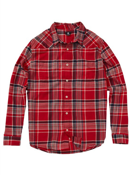 DC Ziprin L/S Men's T-Shirt - Deep Red Plaid