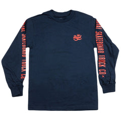 Royal Crown Script L/S Men's T-Shirt - Navy/Red