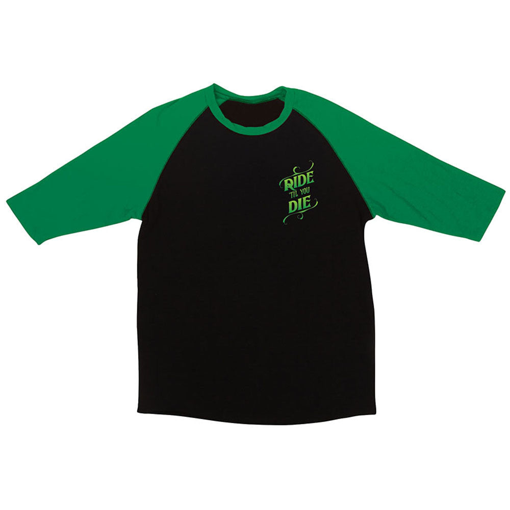 Creature Ride Til You Die Raglan Men's Shirt - Black/Kelly Green