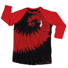 Deathwish Gang Logo Baseball Men's T-Shirt - Red/Black Tie-Dye